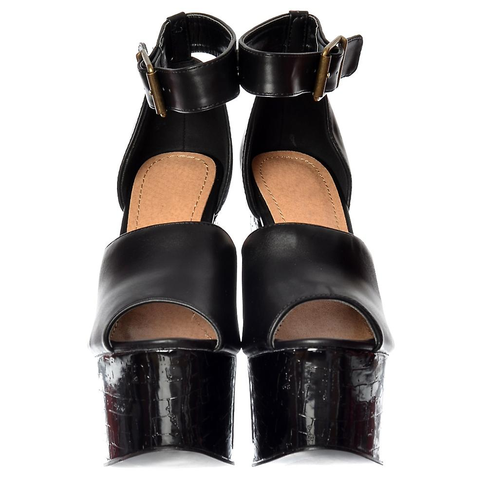 Onlineshoe Open Toe Strappy Plate-forme Demi Wedge Party Cork Talons Hauts