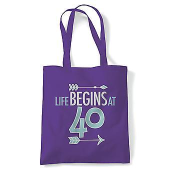 Livet begynner på 40 tote | Happy Birthday feiring Party får eldre | Gjenbrukbare shopping Cotton Canvas Long håndtert Natural shopper miljøvennlig mote