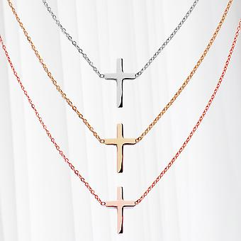 Necklace Cross Pendant Stainless Steel Womens Religion Cross Rosé Gold Silver
