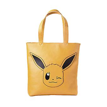 Pokemon Tote Bag Eevee Winking Face Logo new Official Nintendo brown