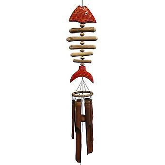 Arancione Koi osso pesce bambù vento chime