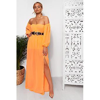 Nica Neon Chiffon Maxi Dress
