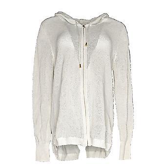 Belle by Kim Gravel Women's Sweater Zip-Up Lurex Hoodie White A288756