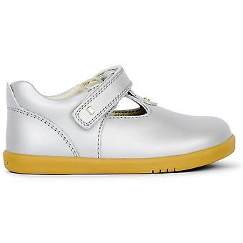 Bobux I-walk Girls Louise T-bar Shoes Silver