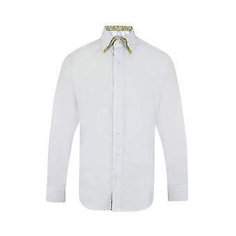 JSS Plain White Regular Fit 100% Cotton Shirt With Yellow Paisley Double Collar
