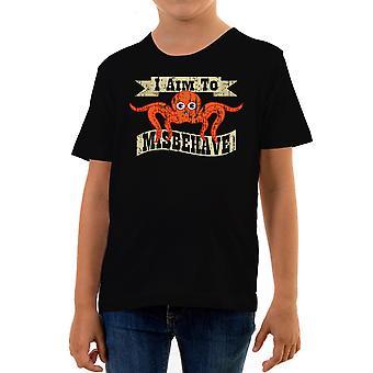 Reality glitch i aim to misbehave kids t-shirt