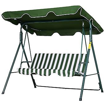 Outsunny 3-Seater Striped Swing Chair Metal A Frame Padded Adjustable Overhead Canopy Armrests Garden Chair Outdoors Weather-Resistant Green White