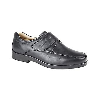 Roamers Black Leather Touch Fastening Mudguard Casual Shoe