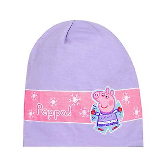 Peppa Pig kids Winter Woolly Girls Purple Beanie Hat