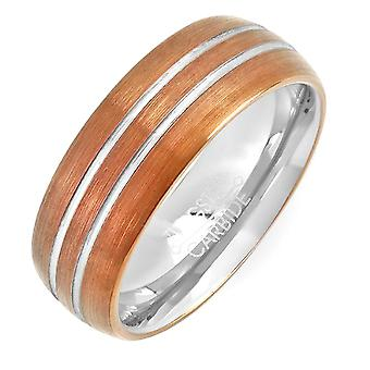 Dazzlingrock Collection Tungsten Carbide Unisex Ring Wedding Band 8 MM Chocolate Plated Brown Double Grooved Dome Comfort Fit
