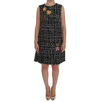 Rochie Dolce & Gabbana Gray Wool Short Crystal Teddy Bear