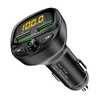 FLOVEME Dual USB Car Charger Bluetooth Transmitter Handsfree Charger FM Radio Kit With SD Card Slot Black