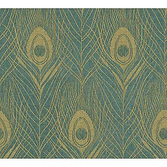 A.S. Creation A.S Creation Luxury Peacock Bird Feather Design Wallpaper Turquoise Gold 36971-4