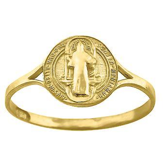 10k זהב נשים צהוב מרקם הקדוש בנדיקט מידות 9.5 x2mm גודל רחב 10 תכשיטים מתנות לנשים