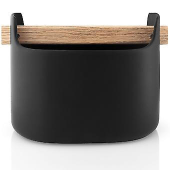 Eva Solo Toolbox storage container low 15 cm ceramic black with oak handle
