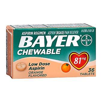 Байер низкой дозы аспирина, 81 мг, жевательные таблетки, оранжевый, 36 еа