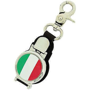 Boxx Gents Italian Flag Picture Keyring Fob Watch With Magnetic Closure Boxx350