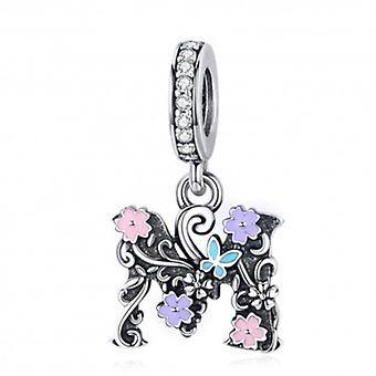 Sterling Silver Pendant Charm Letter M With Flowers - 6334