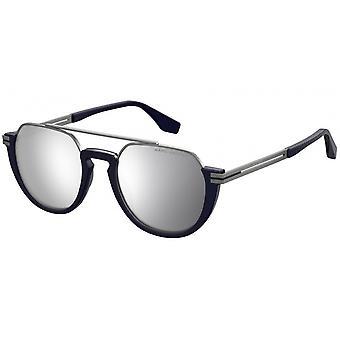 Sonnenbrillen Herren Halbrand reflektierend blau/silber