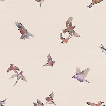 Faulsonntag Vogel Druck Wallpaper Pastell Rosa Rasch 401110