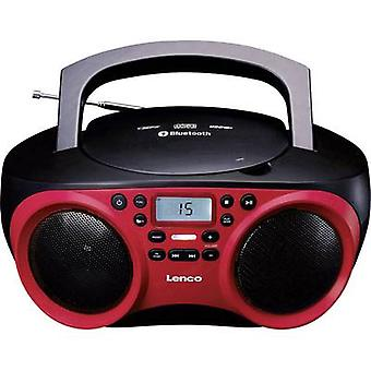 Lenco SCD-501 Radio CD-spiller FM AUX, Bluetooth, CD, USB rød, Svart