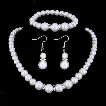 Ivory pearl and crystal bead necklace bracelet and earrings set