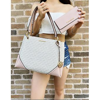 Michael kors nicole large tote vanilla mk pink blossom+ trifold wallet