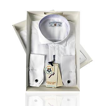 Ragazzi Premium ala collare gemello bianco a pieghe camicia