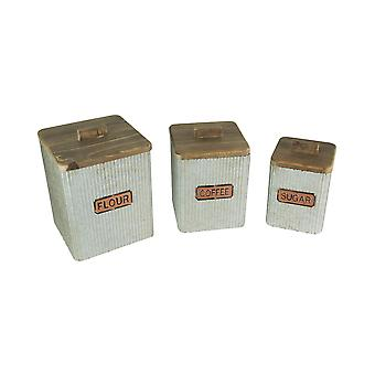 Set of 3 Galvanized Zinc Finish Metal Kitchen Canisters Wooden Lids