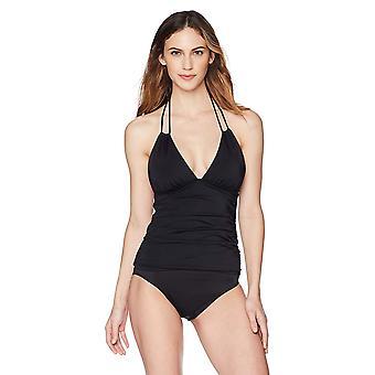 Coastal Blue Women's Swimwear Keyhole Front Adjustable Neck Tankini Top, Black, M (8-10)