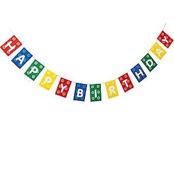 Happy Birthday Building Brick of Block Party Banner voor Kids Parties
