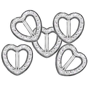 10 kleine Herz 19mm Diamante Effekt Band Schnalle Slider