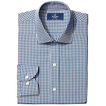 BUTTONED DOWN Men's Slim Fit Spread-Collar Small Gingham Non-Iron Dress Shirt...