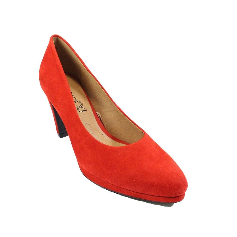Caprice 22402 Red Suede Leather Womens Slip On Heeled Court Shoes