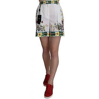 Dolce & Gabbana Majolica Rose White Floral Print Cotton Shorts -- SKI1916912