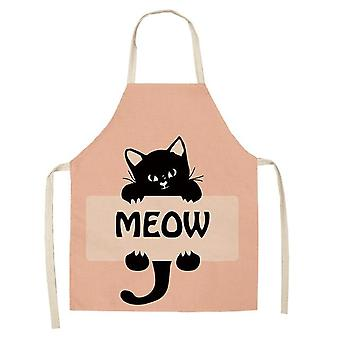 Kitchen Cooking Apron Cute Cat Printed Home Sleeveless Cotton Linen Aprons