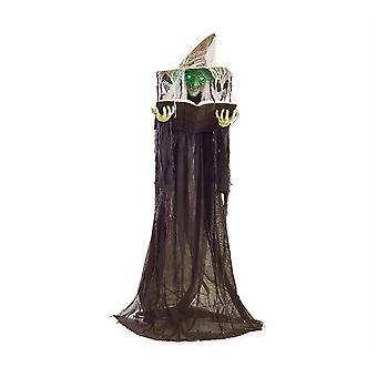 Animated Green Witch Holding Book Trick Or Treat Halloween Prop