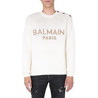 Balmain Uh03480k0420ki Men's White Wool Sweater