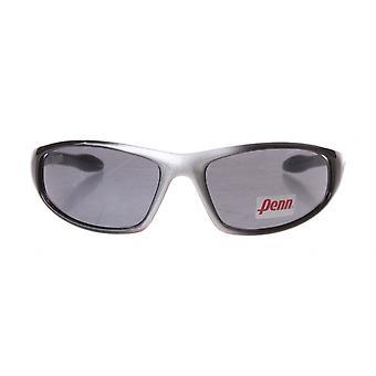 sportzonnebril unisex zwart/zilver met grijze lens