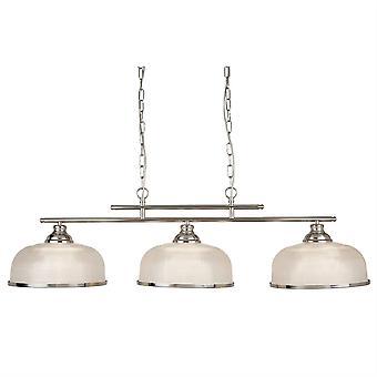 Searchlight Bistro - 3 vaalea katto riipus baari satiini hopea, valkoinen lasi sävyjä, E27