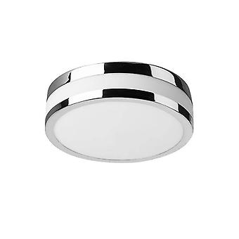 Badrum LED Round Enkel Flush tak ljus Krom 23.6cm 1360lm 3000K IP44