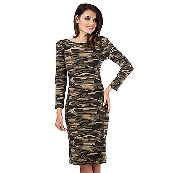 Camouflage knie lengte Bodycon Camo lange mouwen jurk