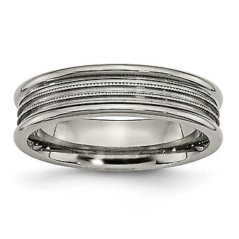 Titanium Engravable Grooved Beaded 6mm Polished Band Ring Jewelry Gifts for Women - Ring Size: 5.75 to 13