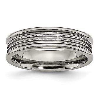 Titanium kaiverrus uurrettu helmillä 6mm kiillotettu bändi rengas korut lahjat naisille - rengas koko: 5,75-13