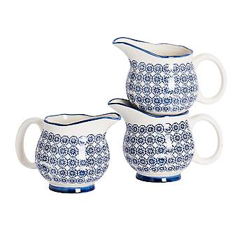 Nicola Spring 3 Piece Hand-Printed Milk Jug Set - Japanese Style Porcelain Cream Gravy Boat - Navy - 300ml