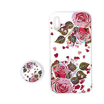 Stødsikkert mobiltaske med holder til iPhone XR - Hvid/pink