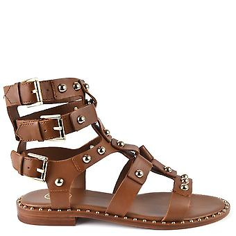 Ash PETRUS Sandals Brown Leather & Gold Ball Studs