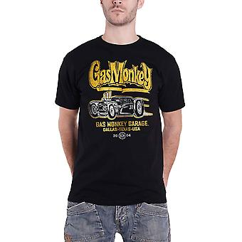 Gas Monkey Garage T Shirt Yellow Hot Rod GMG Logo new Official Mens Black