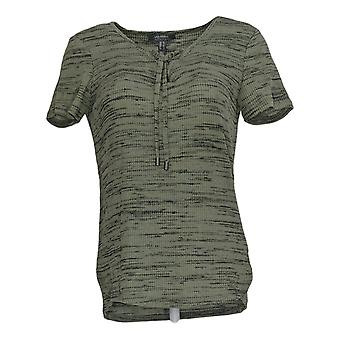 Lisa Rinna Collection Women's Top Short Sleeve Lace Up Green A292268