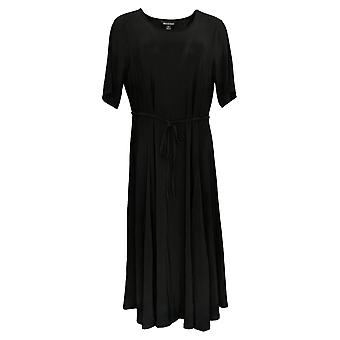 Nina Leonard Dress Belted Midi With Godet Detail Black 685-869